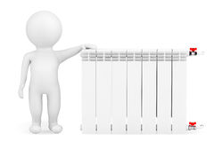 Modern Heating Radiator with 3d Person Stock Photography