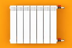 Modern Heating Radiator with orange wall Stock Images