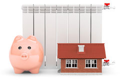 Modern Heating Radiator with Piggy Bank and House Stock Photo