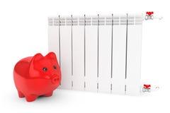 Modern Heating Radiator with Piggy Bank Stock Image