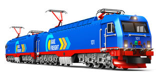 Modern heavy freight electric locomotive stock illustration