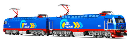 Modern heavy freight electric locomotive Stock Photo