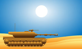 Modern heavy tank. In desert royalty free illustration