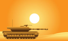 Modern heavy tank in desert. At sunset vector illustration