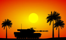 Modern heavy tank in desert. At sunset stock illustration