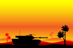 Modern heavy tank in desert Royalty Free Stock Images