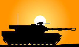 Modern heavy tank. At sunset royalty free illustration