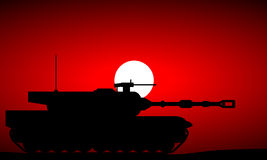 Modern heavy tank. At sunset stock illustration