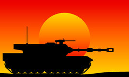 Modern heavy tank. At sunset vector illustration