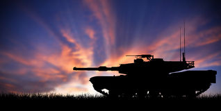 Modern heavy tank at sunset. Modern heavy tank in front a sunset stock illustration