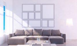 Modern helder binnenland met leeg kader 3D het teruggeven 3D illustratieruimte, Skandinaviër, bank, ruimte, omhoog, witte muur, Stock Afbeeldingen