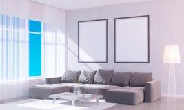 Modern helder binnenland met leeg kader 3D het teruggeven 3D illustratieruimte, Skandinaviër, bank, ruimte, omhoog, witte muur, Stock Fotografie