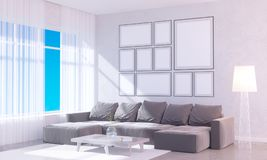 Modern helder binnenland met leeg kader 3D het teruggeven 3D illustratieruimte, Skandinaviër, bank, ruimte, omhoog, witte muur, Stock Foto's