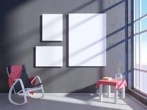 Modern helder binnenland met leeg kader 3D het teruggeven 3D illustratieruimte, Skandinaviër, bank, ruimte, omhoog, witte muur, Royalty-vrije Stock Afbeeldingen