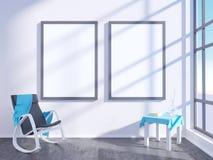 Modern helder binnenland met leeg kader 3D het teruggeven 3D illustratieruimte, Skandinaviër, bank, ruimte, omhoog, witte muur, Stock Foto