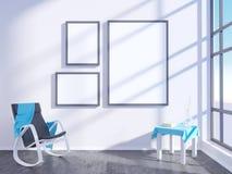 Modern helder binnenland met leeg kader 3D het teruggeven 3D illustratieruimte, Skandinaviër, bank, ruimte, omhoog, witte muur, Stock Afbeelding
