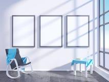 Modern helder binnenland met leeg kader 3D het teruggeven 3D illustratieruimte, Skandinaviër, bank, ruimte, omhoog, witte muur, Royalty-vrije Stock Afbeelding