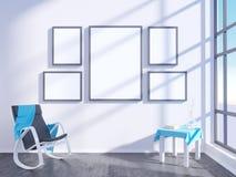 Modern helder binnenland met leeg kader 3D het teruggeven 3D illustratieruimte, Skandinaviër, bank, ruimte, omhoog, witte muur, Royalty-vrije Stock Fotografie