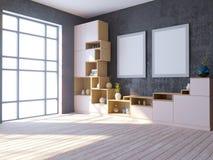 Modern helder binnenland met leeg kader 3d teruggevende 3d illustratie royalty-vrije illustratie