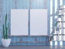 Modern helder binnenland met leeg kader 3d teruggevende 3d illustratie vector illustratie