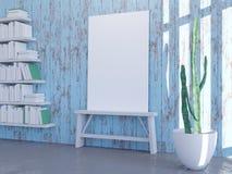 Modern helder binnenland met leeg kader 3d teruggevende 3d illustratie stock illustratie