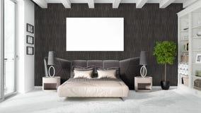 Modern helder binnenland met leeg kader het 3d teruggeven Stock Fotografie