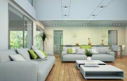 Modern helder zolder binnenlands ontwerp met bank en eettafel Stock Afbeeldingen
