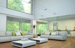 Modern helder zolder binnenlands ontwerp met bank en eettafel Royalty-vrije Stock Afbeelding