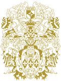 Modern heraldry design. Gold emitted Stock Photo