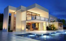 Modern herenhuis voor de betere inkomstklasse met pool vector illustratie
