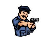 Modern het Beeldverhaalembleem van Beroepsmensen - Politie vector illustratie