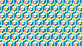 Modern Hexagon 3d banner. Memphis style repetitive background. Vector wallpaper royalty free illustration