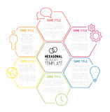 Modern hexagonal Infographic report template made from lines Stock Image