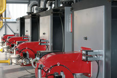Modern hi-tech gas boiler-house Stock Photography