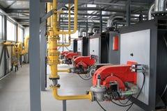 Modern hi-tech gas boiler-house Stock Image