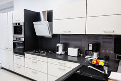 Modern hi-tek kitchen, clean interior design Stock Images