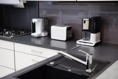 Modern hi-tek kitchen, clean interior design Stock Photo