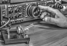 High frequency radio amateur transceiver in black and white. Modern high frequency radio amateur transceiver in black and white royalty free stock photos