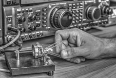 High frequency radio amateur transceiver in black and white. Modern high frequency radio amateur transceiver in black and white stock photos