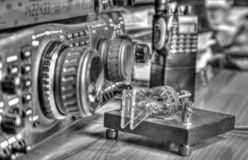 High frequency radio amateur transceiver in black and white royalty free stock photo