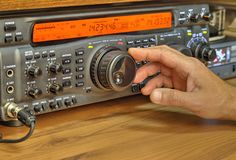 Modern high frequency radio amateur transceiver. Closeup stock photos