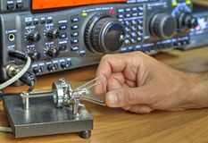 Modern high frequency radio amateur transceiver. Closeup royalty free stock photography