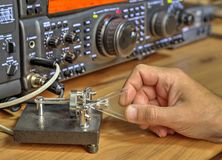 Modern high frequency radio amateur transceiver. Closeup stock image