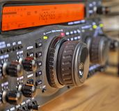 Modern high frequency radio amateur transceiver. Closeup stock photo
