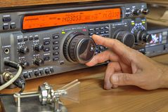 Modern high frequency radio amateur transceiver. Closeup stock images