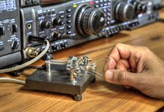 Modern high frequency radio amateur transceiver. Closeup stock photography