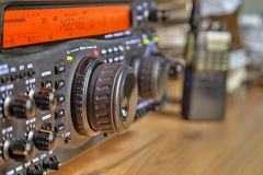 Modern high frequency radio amateur transceiver. Closeup royalty free stock images