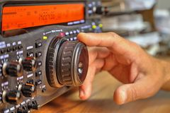 Modern high frequency radio amateur transceiver. Closeup royalty free stock photos