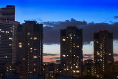 high residential buildings at night Stock Photos