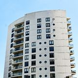 Modern High Rise Apartment Building, Sydney, Australia. A white curved sail shaped multi level high rise apartment or condominium building, Sydney, Australia stock images